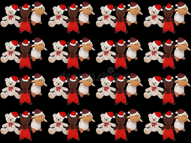 Black background with cute Christmas teddy bears and a sheep royalty free illustration