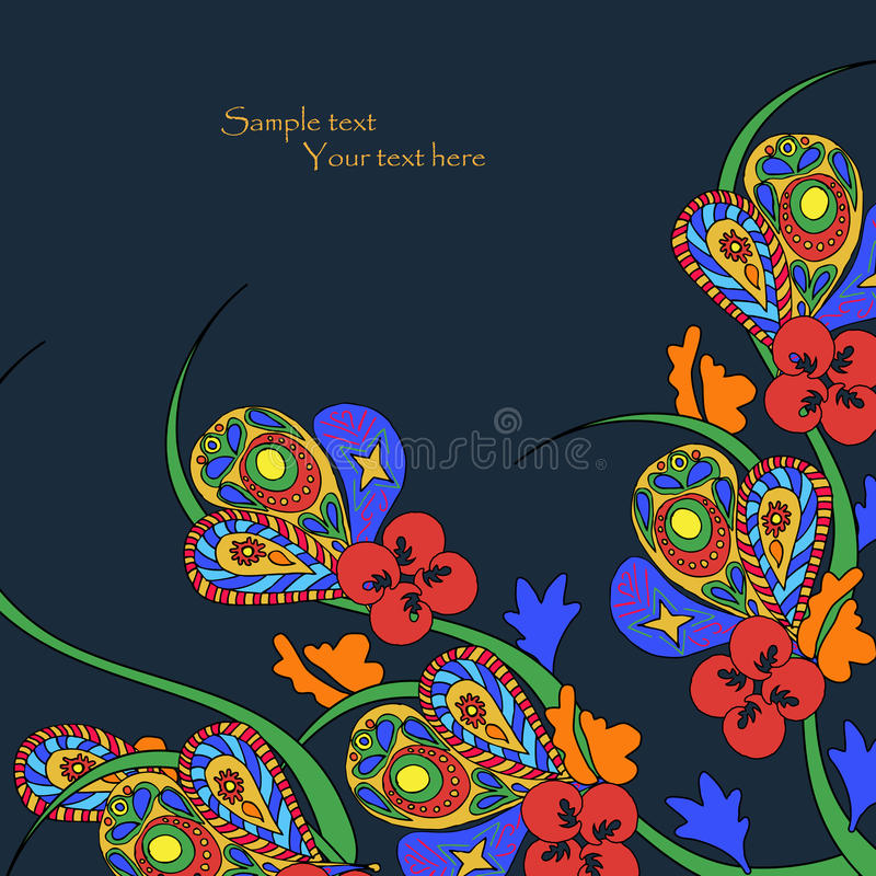 Download Black Background With Decorative Bright Flowers Stock Vector - Illustration: 28774170
