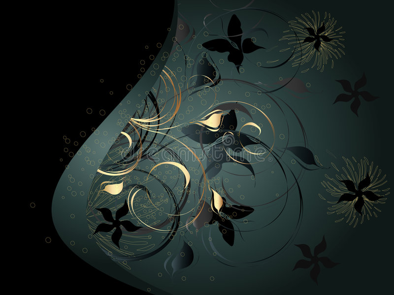Download Black Background With Floral Ornament Stock Vector - Image: 8760965