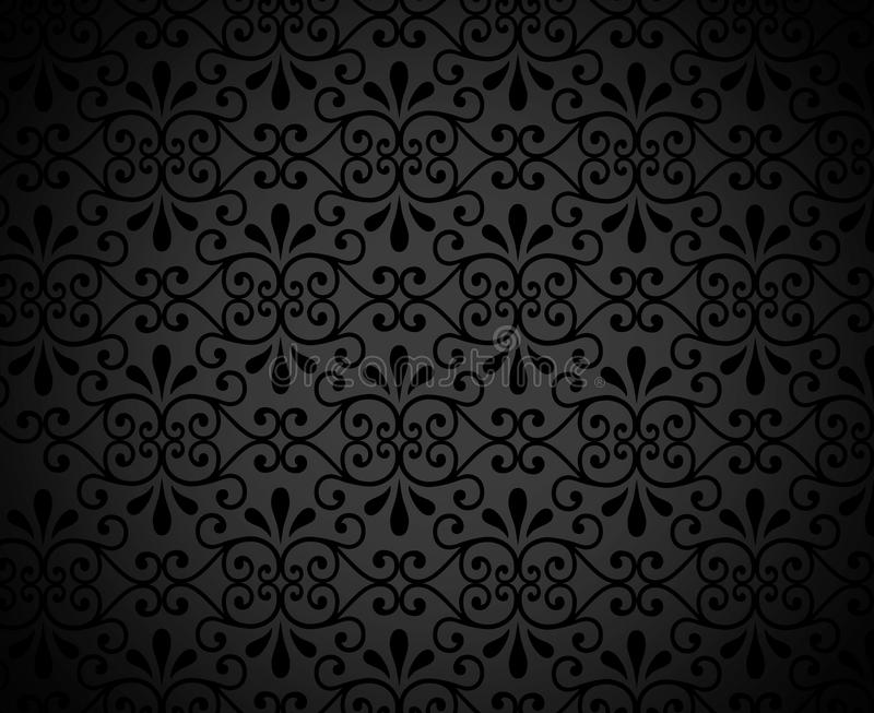 BLACK BACKGROUND WITH FLORAL PATTERN royalty free stock photos