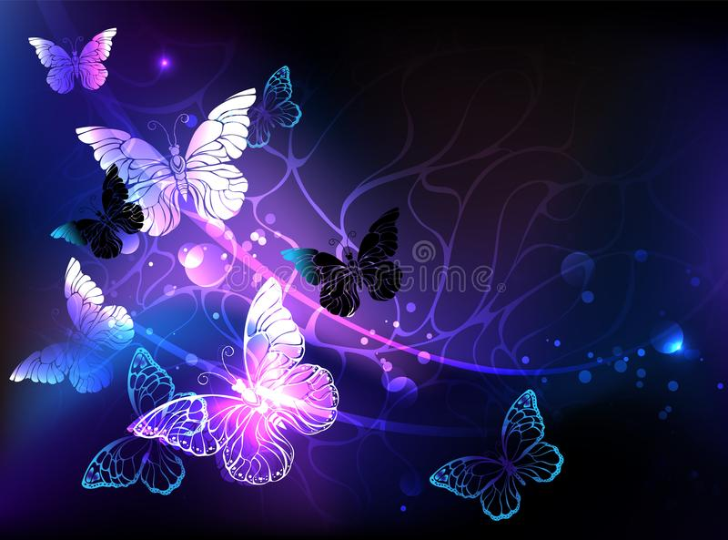Background with night butterflies Black background. Black background with glowing night butterflies. Night butterflies. Design with butterflies stock illustration