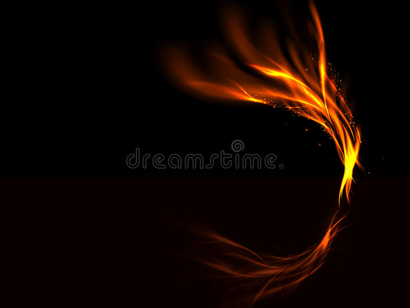 Black background with gold abstract ascending red fire flashes and the reflected royalty free illustration