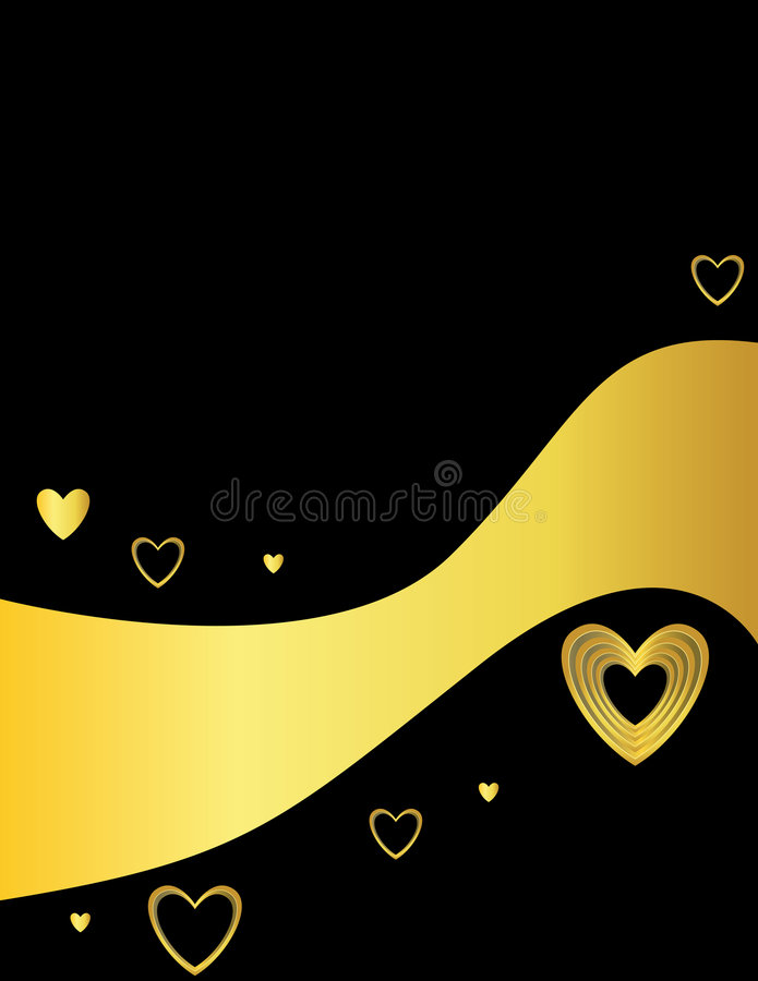 Black background with gold hearts royalty free illustration