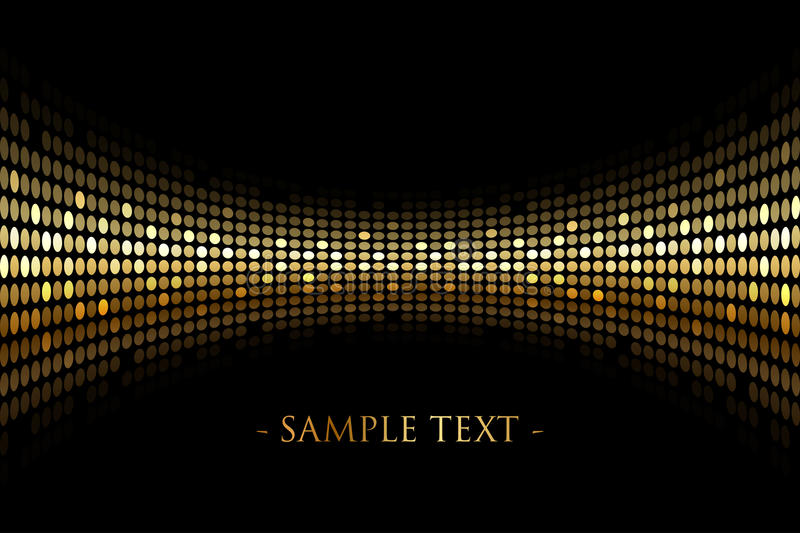 Black background with gold lights with space for y stock illustration