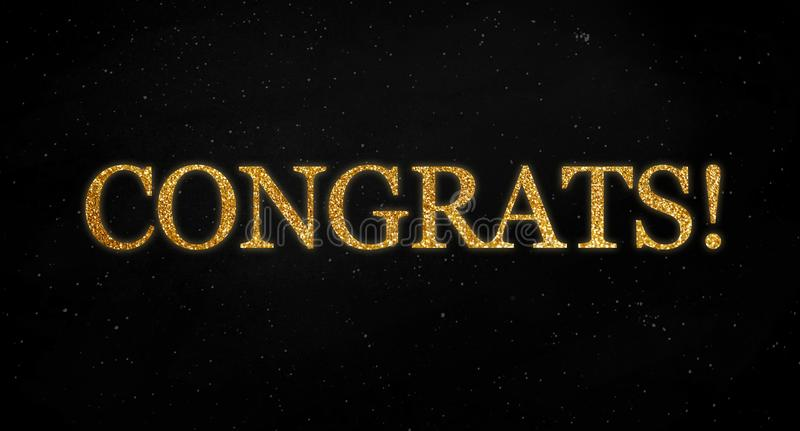 Black background with golden letters showing the word congrats royalty free illustration