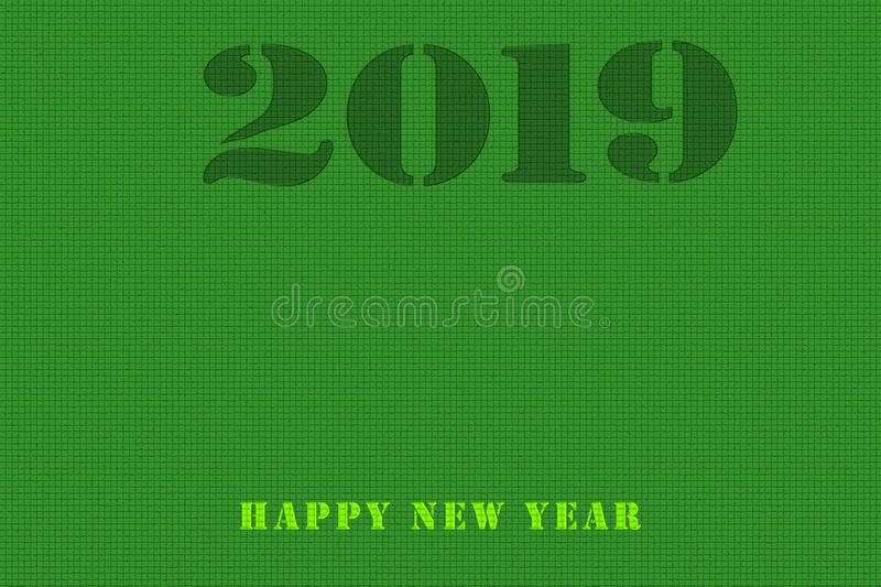 On a black background, a graphical download scale for 2019 with stock illustration