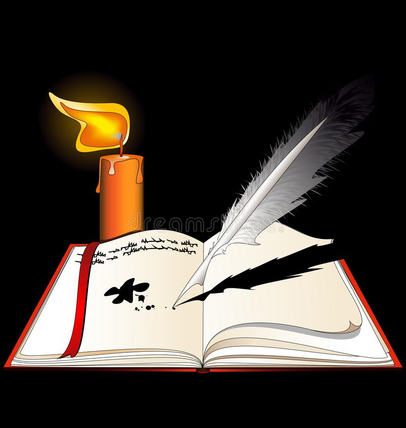 Dark background, the open book with empty pages and burning candle. Black background, image of the open book with empty pages and burning candle royalty free illustration