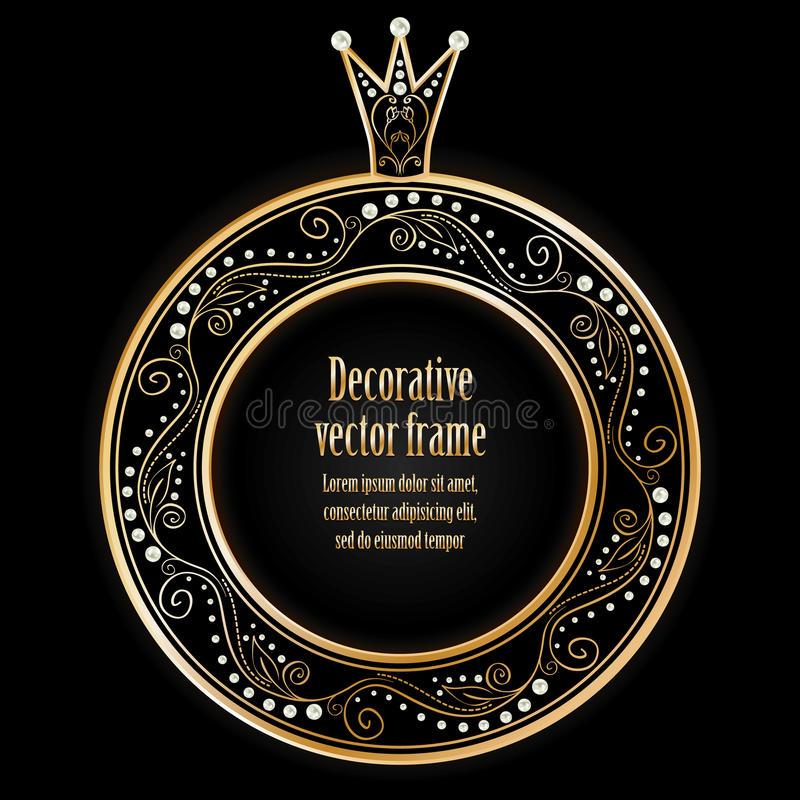 Black background with luxury gold vintage frame wi vector illustration