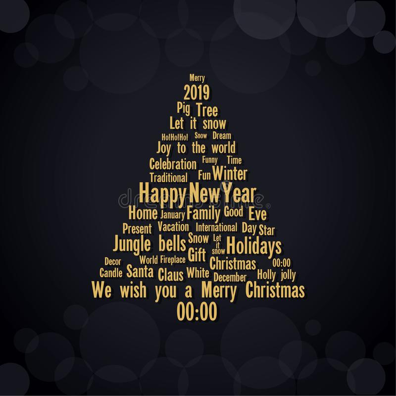 Black background with the main christmas and New Year holidays words. Modern christmas tree for your design. Vector illustration royalty free illustration