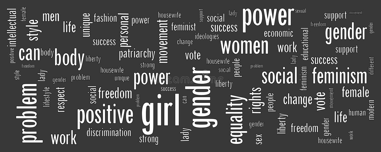 Black background with the main feminism concept words. Modern simple banner for web site, blog, article or social network on the theme of feminism. Vector vector illustration