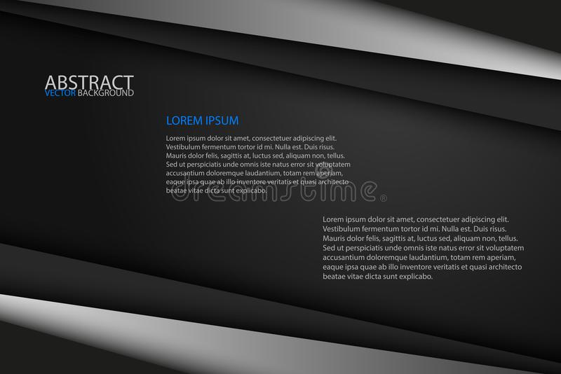 Black background overlap grey and black sheets, modern abstract vector illustration
