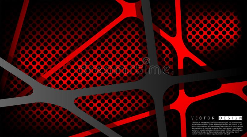Black background overlapping vector. Realistic overlapping layers on a red background of a circle pattern. Vector illustration vector illustration