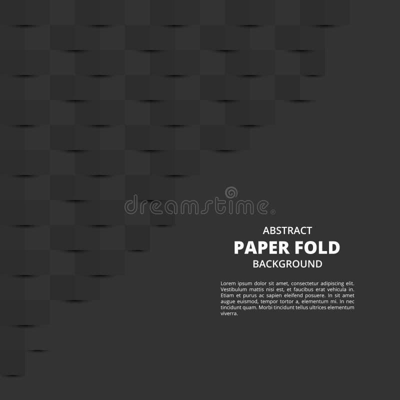 BLACK BACKGROUND WITH PAPER FOLD PATTERN stock illustration