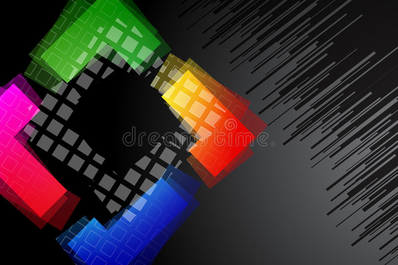 Black background with rainbow colored shape royalty free illustration