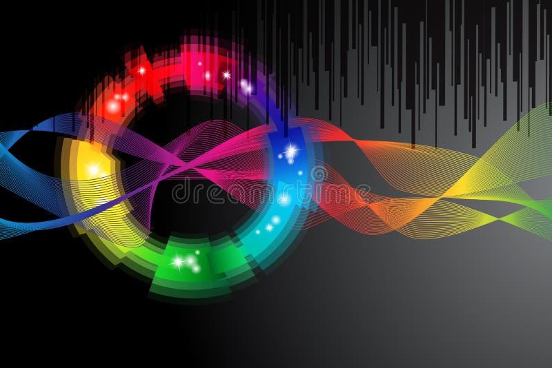 Black background with rainbow colored shape stock illustration