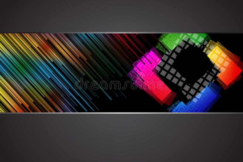 Black background with rainbow colors stock illustration