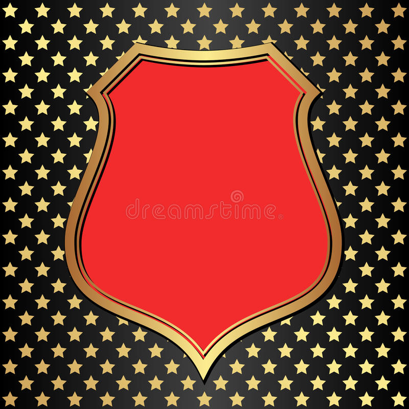 Black background. Black and red background with golden frame and stars vector illustration