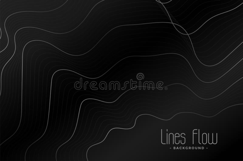 Black background with shiny contour lines design. Vector royalty free illustration