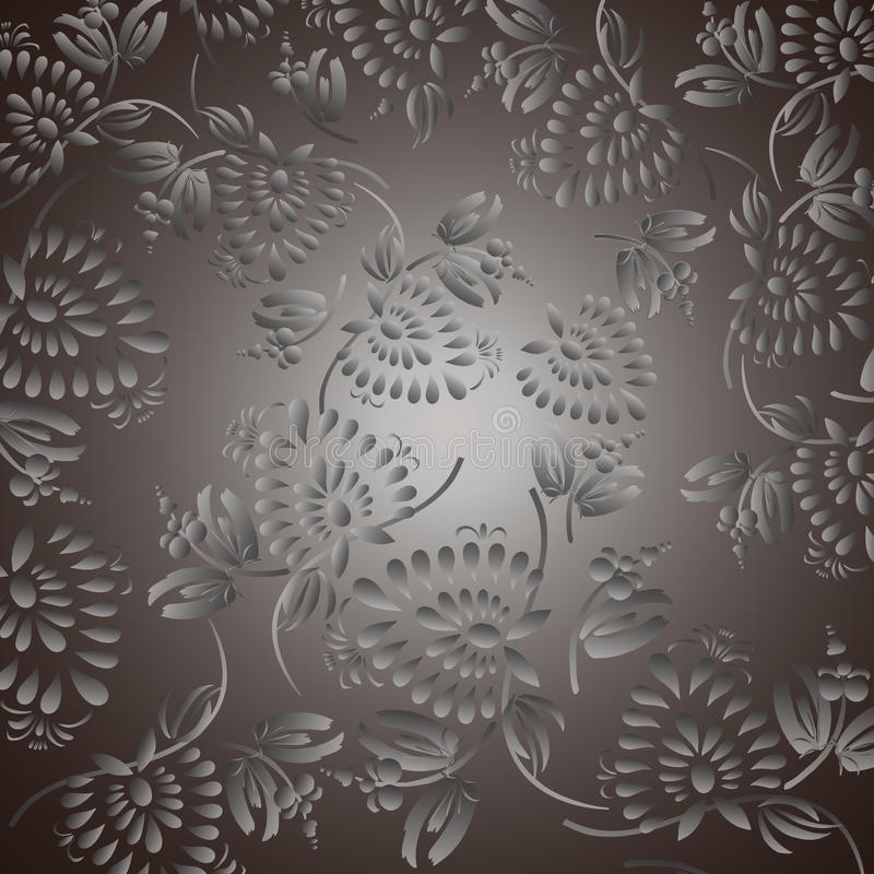 Black background with silver flowers and leaves stock illustration
