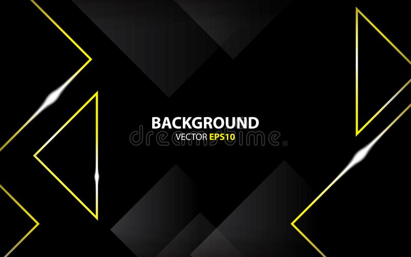 Black background with triangle gold metallic. minimal concept stock illustration