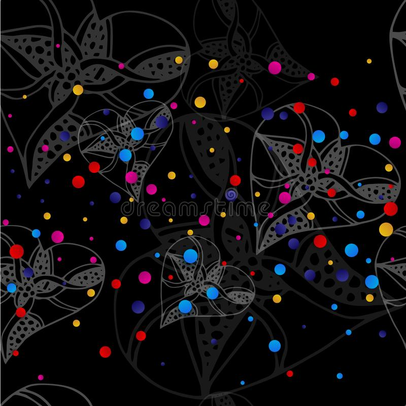 Black background with white hearts in the style of sketching and bright colored dots. Vector illustration stock illustration