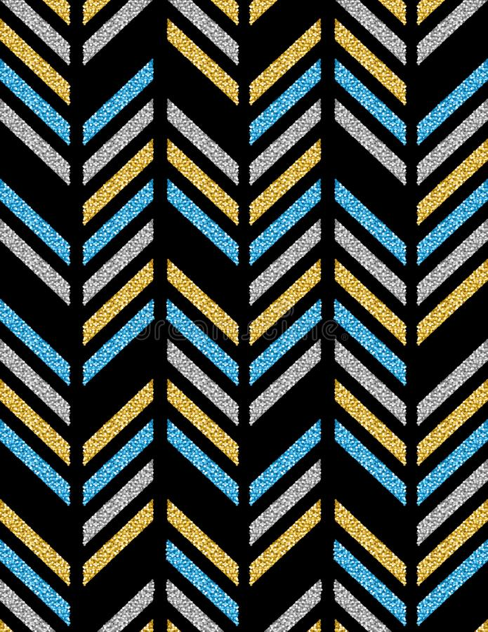 Black backgrounds with blue, golden and silver glittering diagonals, vector illustration royalty free illustration