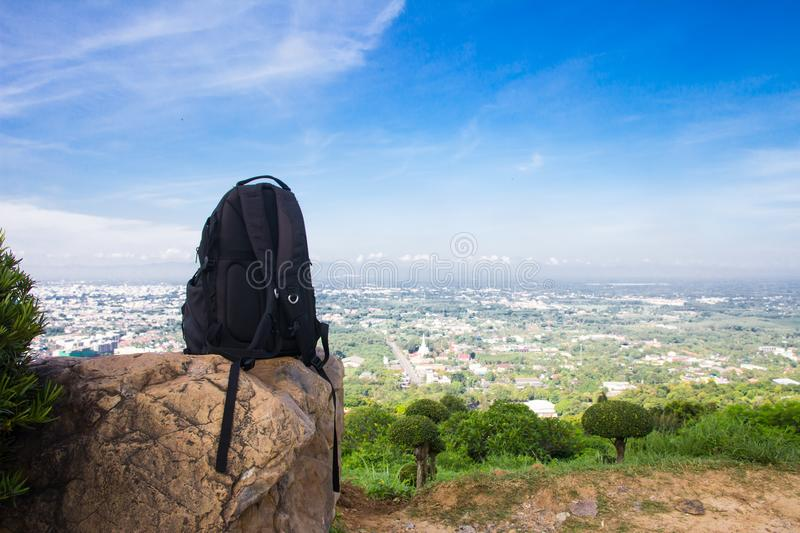 Black backpack royalty free stock photos