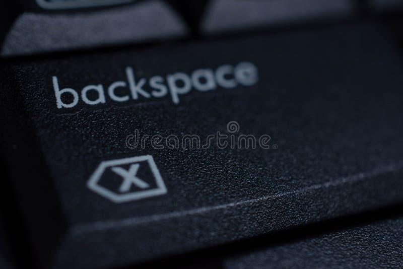 Black backspace button on keybord. Backspace button on keybord background pc computer black button texture white stock photography
