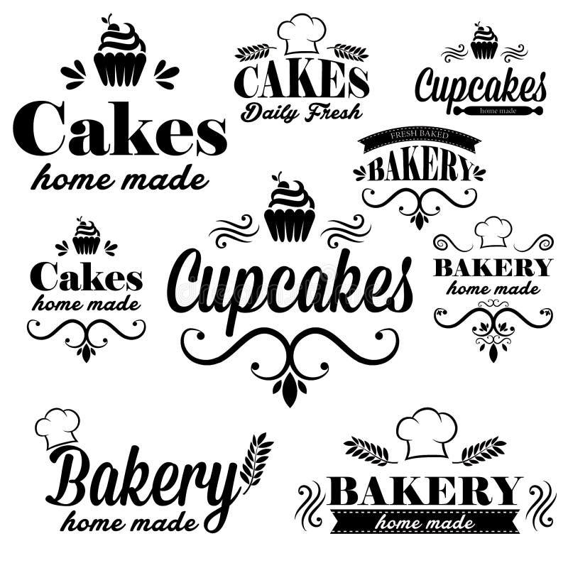 Black bakery logos royalty free illustration