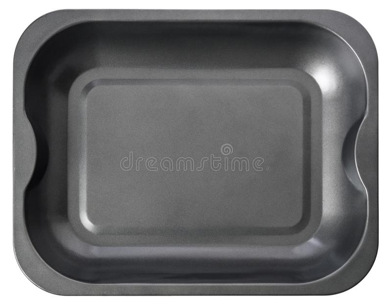 Black baking tray isolated on white background. Top view baking stock image