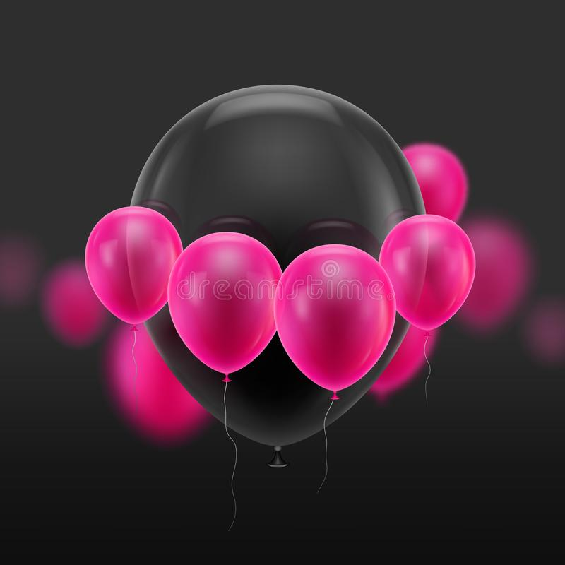 Black ball surrounded small pink vector illustration