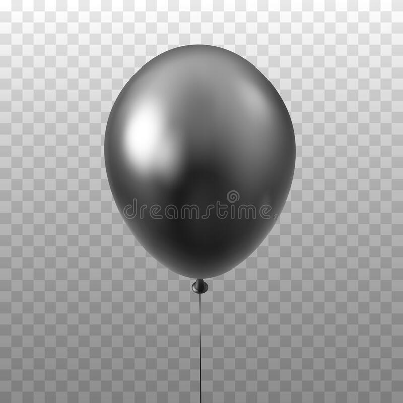 Black balloon isolated on transparent background. 3D Vector illustration of celebration, party balloons stock illustration