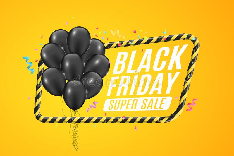 Black balloons in a yellow frame with black lines. Sign of caution. 3D Banner for sale Black Friday on a yellow background. White royalty free illustration