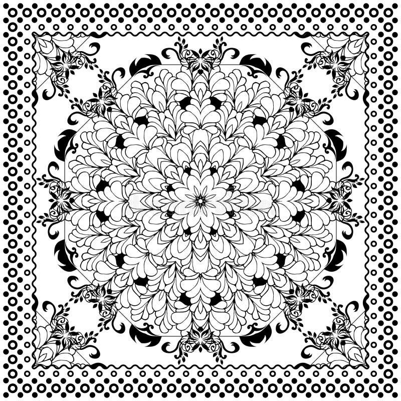 Black Bandana Print design. Fabric pattern for silk scarf. Border vector ornaments stock illustration