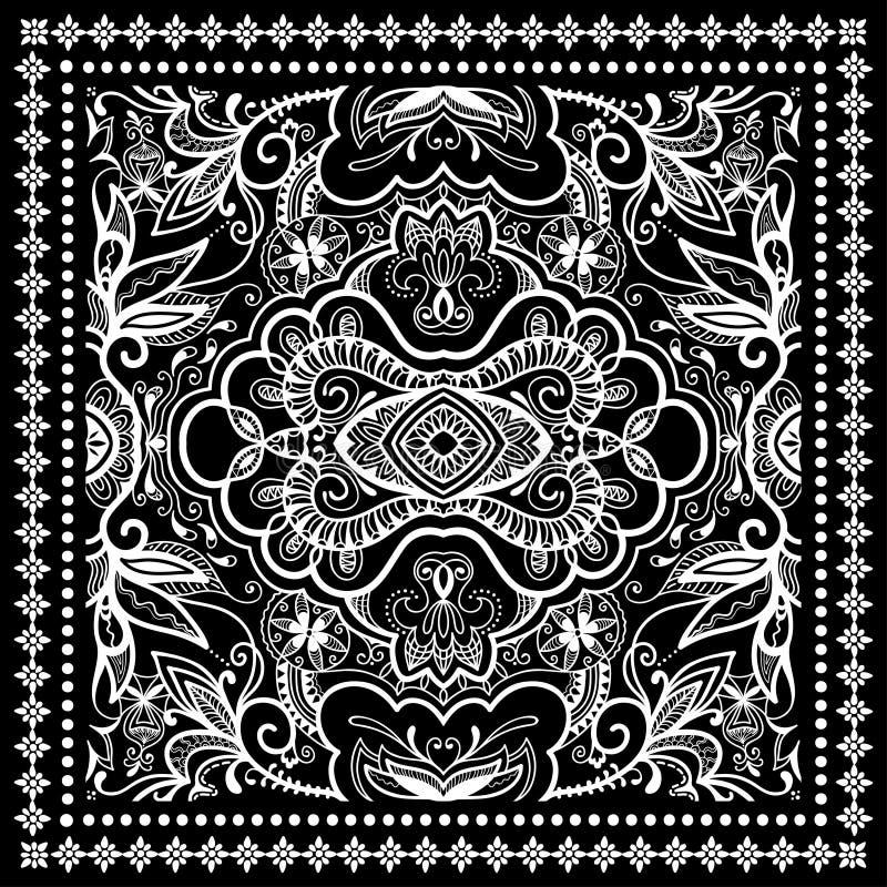 Black Bandana Print, silk neck scarf or kerchief. Square pattern design style for print on fabric, vector illustration stock illustration