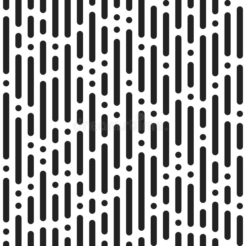 Black bands and dots on white background. Abstract seamless dash stock illustration