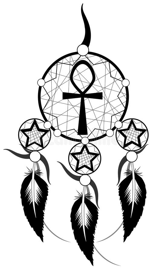 Black Banishes thoughts with egyptian Ankh. Image representing a stylized banishes thoughts usable for logo, tattoo or decoration stock illustration