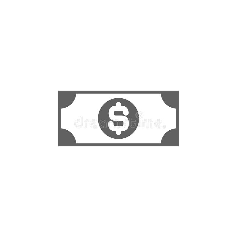 Black bank note with dollar sign. Flat icon isolated on white. Money pictogram. Dollar and cash, coin stock illustration
