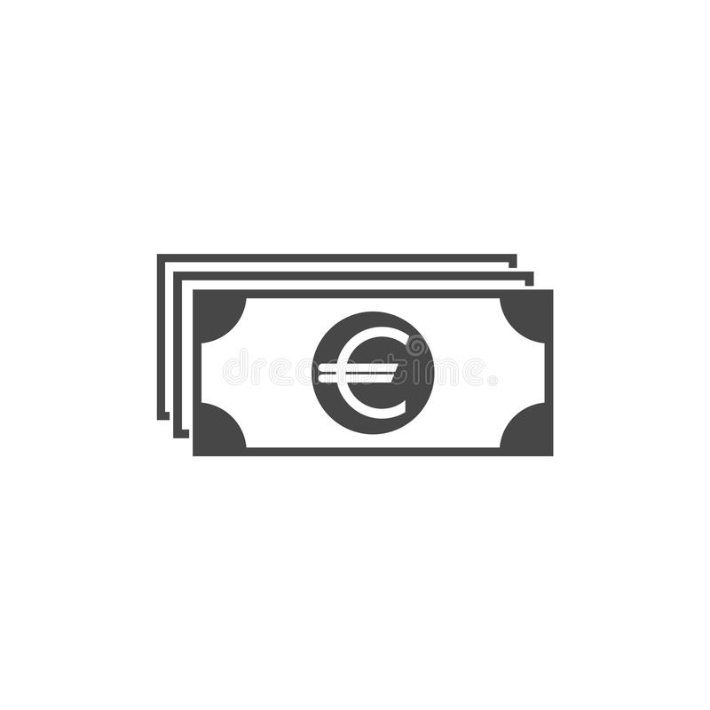 Black bank note with euro sign. Flat icon isolated on white. Money pictogram. Dollar and cash, coin vector illustration