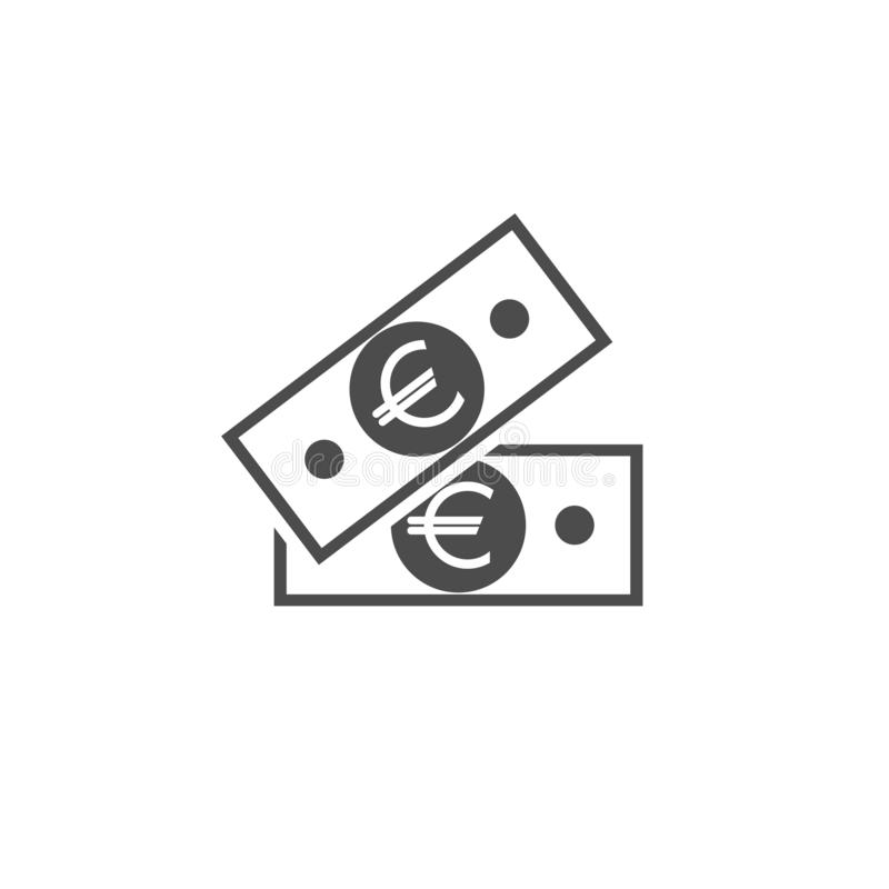 Black bank notes with euro sign. Flat icon isolated on white. Money pictogram vector illustration