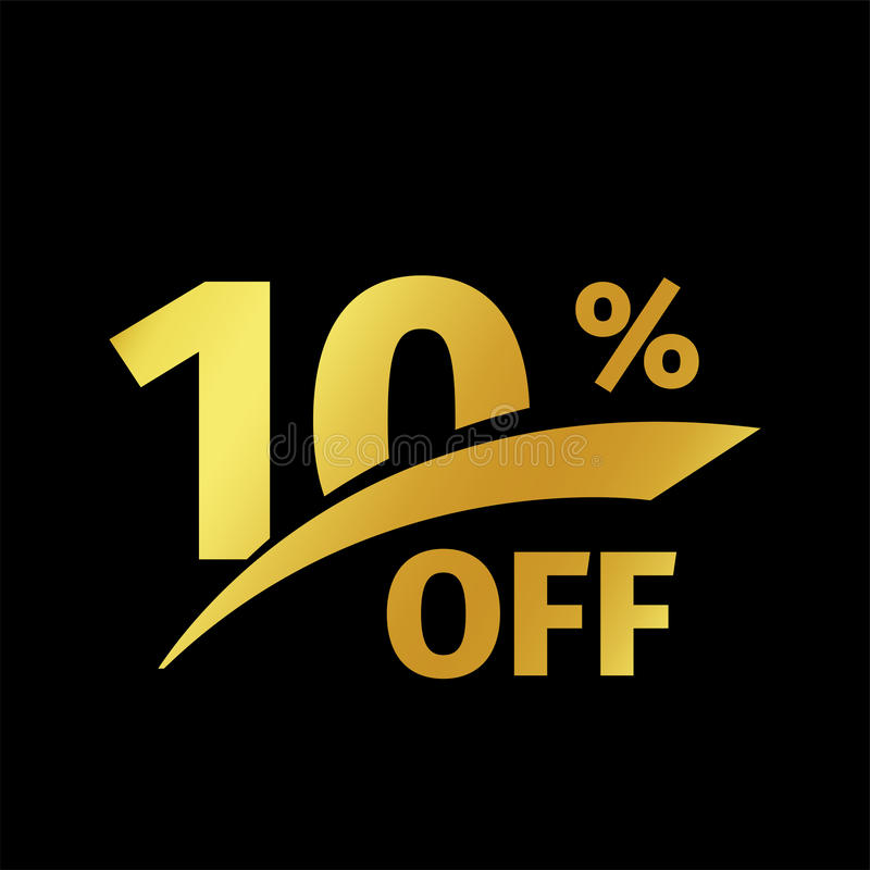 Black banner discount purchase 10 percent sale vector gold logo on a black background. Promotional business offer for. Buyers logotype. Ten percentage off vector illustration