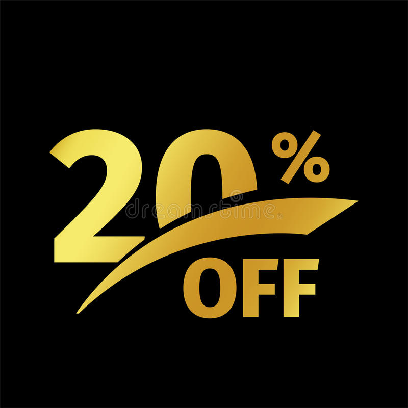 Black banner discount purchase 20 percent sale vector gold logo on a black background. Promotional business offer for royalty free illustration