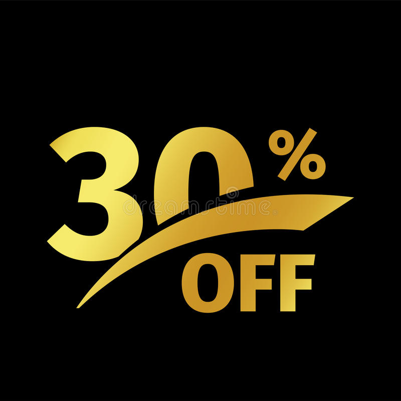 Black banner discount purchase 30 percent sale vector gold logo on a black background. Promotional business offer for stock illustration