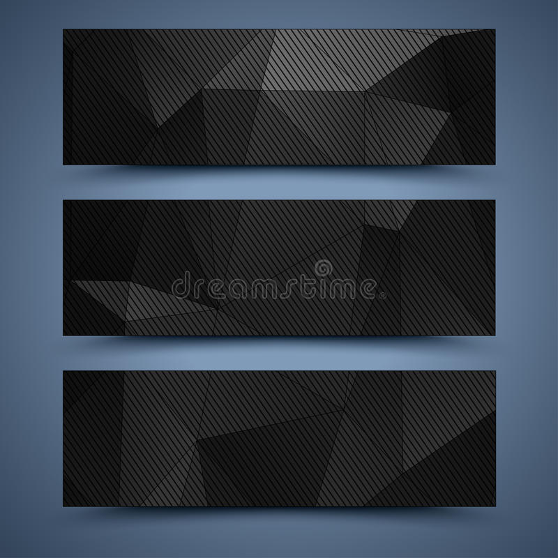 Black banners templates. Abstract backgrounds. Website black banners templates. Abstract backgrounds stock illustration