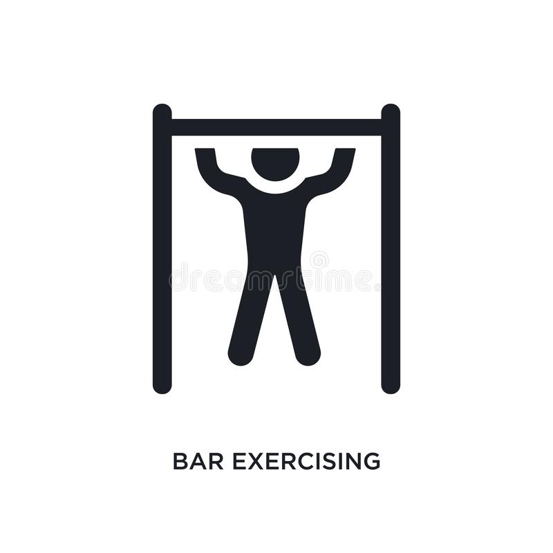 Black bar exercising isolated vector icon. simple element illustration from gym and fitness concept vector icons. bar exercising. Editable logo symbol design on stock illustration