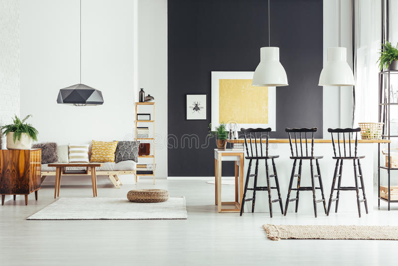 Kitchen island with bar stools stock image