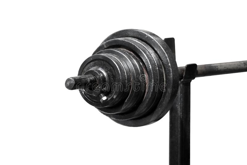 Black barbells isolated on white background selective focus, sport barbells, black dumbbells, barbells on white and copy space royalty free stock image