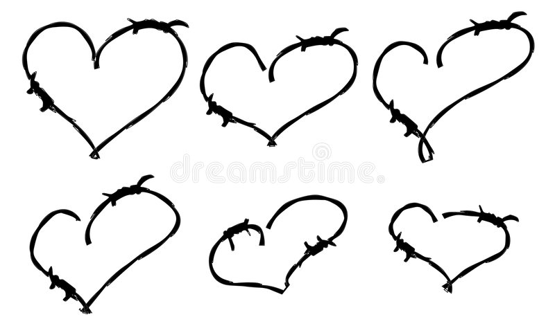 Black barbwire hearts. Black hearts with barbwire outline vector illustration