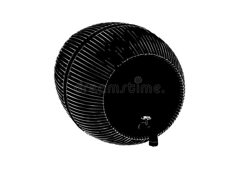 Black barrel on white background. Vector image royalty free illustration