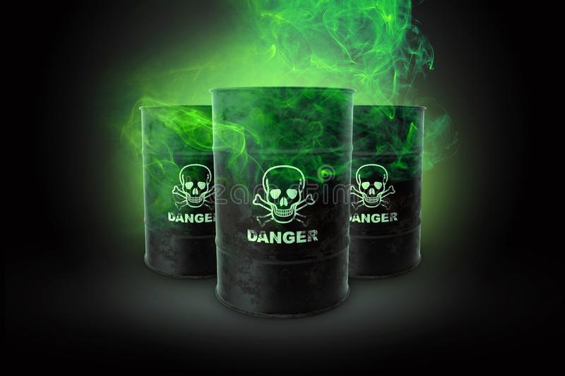 Black barrels with waste on a black background. Biological waste. The concept of chemical waste, pollution of nature, toxins. 3D stock illustration